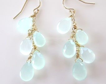 Falling Pale Green Chalcedony Dangling Earrings- Gold Mint Green Chalcedony Drop Earrings- Silver Light Green Chalcedony Earrings- EGS-CH4
