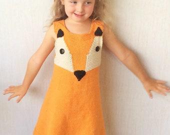 Fox Knit Dress, Fox Dress Size 2, Cotton Dress Size 4, Tunic Dress Size 6, Fox Dress Size 8, Fox Jumper, Halloween Costume Fox Dress,