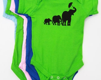 Elephant| Baby Onesie| Infant Bodysuit| Baby Shower gift| jumpsuit| Art by MATLEY| New born gift registry| Animal print.