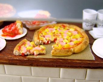 Polymer Clay Pizza - Hawaiian Pizza Set - 1/12 Scale Food Dollhouse Miniature Food