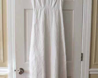 Vintage 1960s Long White Floral Maxi Dress