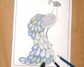 peacock art coloring page, adult coloring sheet, printable coloring pages, illustration download
