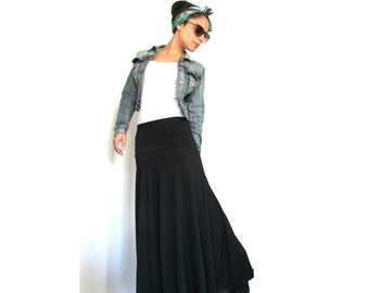 Casual Women Maxi Skirt- Jersey black skirt, Long maxi skirt, Long skirts for women NOW ON SALE!
