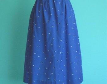 vintage 80's high waist blue diamond shape skirt