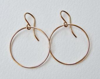 Gold Hoop Earrings - Medium Circle Earrings Gold Filled Dangle Earrings