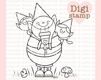 Gnome Stamp - Digital Gnome Stamp - Gnome Digital Stamps - Digital Father's Day Stamp - Gnome Art - Gnome Card Supply - Gnome Craft supply