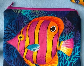 Aquarium Fish Tank Clutch Zipper Pouch Summer Tropical Vacation Cosmetic Bag