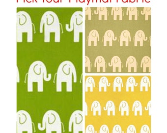 Super Size Cotton Playmat with Marching Elephants Print. Double Padded. Gender Neutral Baby