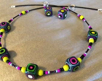 Wonderfully Retro Artisan Polymer Clay Bead Necklace and Earring Set in Funky Purples, Pinks and Greens