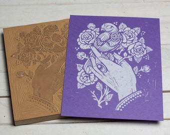 Floarea's Hand -  Purple Block Print