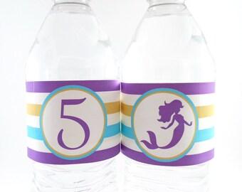 Mermaid Party Water Bottle Labels, Mermaid Birthday Water Bottle Labels, Mermaid Labels, Mermaid Party Decorations - SET OF 12