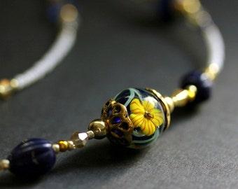 Beaded Floral Eyeglass Holder. Hibiscus Badge Lanyard. Navy Blue Handmade Lanyard. Dark Blue and Yellow Eyeglass Chain. Beaded ID Lanyard.