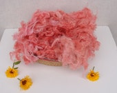 Wool Fluff Basket Stuffer, Newborn Photo Prop, Premium Huacaya Alpaca Baby Prop Filler, strawberry pink  Wool Fluff,  photography prop