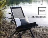 Grey & White Pillow Cover, Modern Colorblock, Decorative Gray Outdoor Pillow Case, Masculine Sunbrella Cushion Cover, Black  Mazizmuse