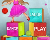 Kids playroom decor, Childrens wall art, kids room decor, playroom art - Laugh Dance Play Read Create Share, art for kids bedroom, poster