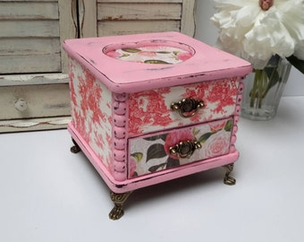 Pink Shabby Chic Heart Jewelry Box with French Toile and Vintage Roses Decoupage Hand Painted Valentines Gift