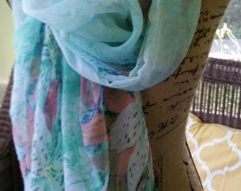 Watercolor Lily Scarf, Womens cotton summer scarf, green, blue, floral
