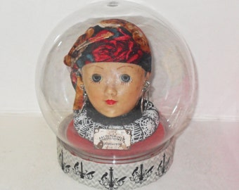 Creepy Doll Head Art - Gypsy Fortune Teller - Fortune Teller Globe