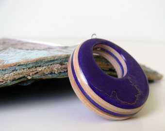 Recycled Skateboard Jewelry Handmade, Eco Friendly Wood Royal Purple pendant Skateboard Necklace