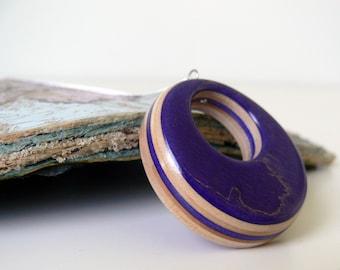 Recycled Skateboard Jewelry Handmade, Eco Friendly Wood Royal Purple pendant Skateboard Necklace