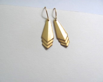 Small gold triangle drop earrings, raw brass vintage triangles on 14k gold plate fixtures, simple geometric jewelry