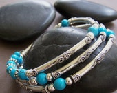 Lizzy - Sterling Silver Wire Wrap Beaded Bracelet with Turquoise