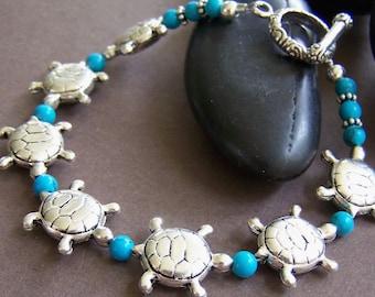 Sea Turtle Bracelet - Sterling Silver with Turquoise Bracelet