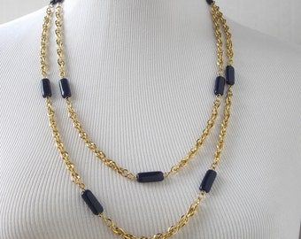 Blue Glass Necklace, Gold Chain Necklace, Long Necklace, Blue Necklace, Gold Necklace