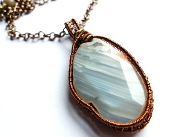blue striped agate statement necklace, natural agate with druzy, wire wrapped pendant, tarnish resistant wire, unique ooak