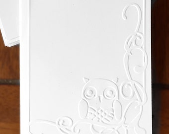 Embossed Cards Owl / Set of 12 / Card Stock / A2 Envelopes / Craft Supplies