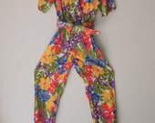 Vintage 1980s Floral Jungle Print Jumpsuit  Small by Designer Joan Walters