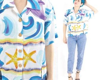 80s 90s Beach Summer Shirt White Cotton Short Sleeve Shirt Dolphin Print Seapunk Top Starfish Artsy Watercolor Button Down Blouse (M/L)