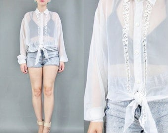 80s 90s Sheer White Blouse Long Sleeve Shirt Button Down Tie Hem Shirt Slouchy See Through Top Abstract Ribbon Embroidered Blouse (L)