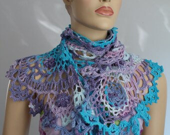 Multicolor Crochet Shawl Scarf ,Cotton Wrap, summer crochet shrug, beach knit wear, Women Cover Up , Festival Boho Hippie