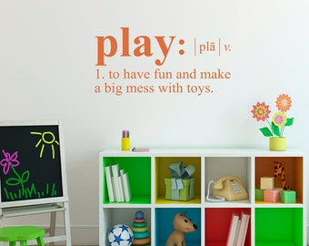Play Wall Decal - Dictionary definition Decal - Children Wall Decal - Medium