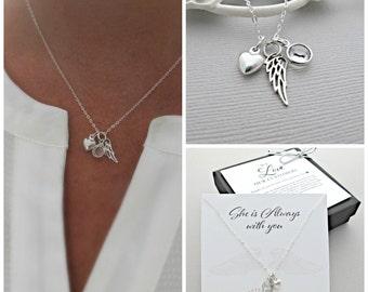 Angel Wing Necklace, Memorial Jewelry, Memorial Necklace, Angel Wing Jewelry, Memorial Gift, Angel Wing Gift, Sympathy Jewelry, Sympathy