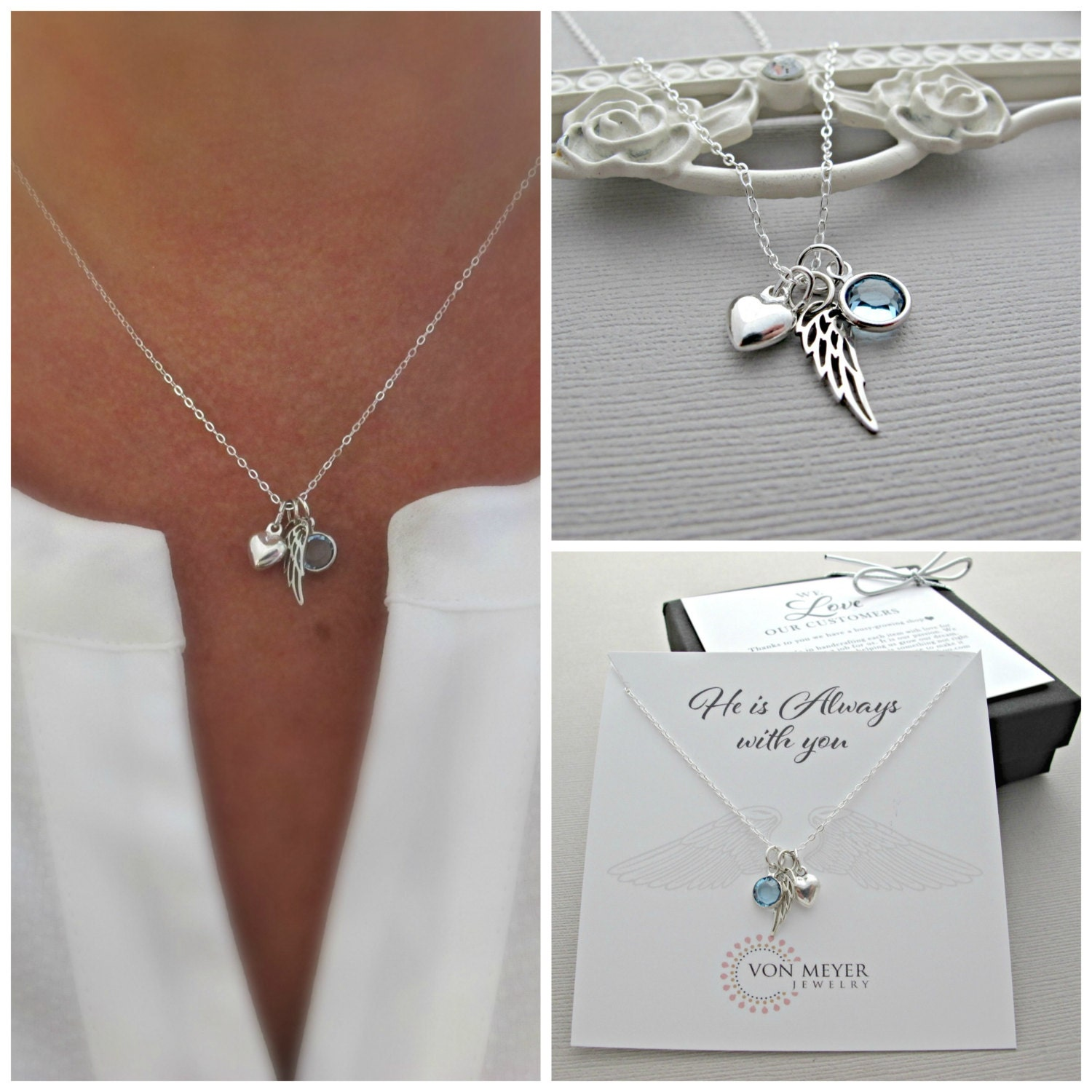 Memorial Gift Sympathy Gift Angel Wing Necklace