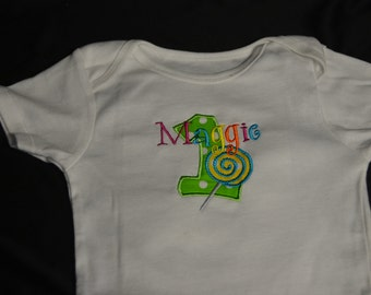 Clearance Sale!! 1st Birthday Party Lollipop Sweet Shop, name Maggie, number 1.  Onesie size 24 mo.  Ready to ship.  All sales final!