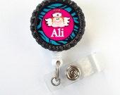 Personalized Nurse Angel Pink  - Name Badge Holder - Retractable ID Badge Reel  - Nurse Badge Holder - Nursing Badge Holder