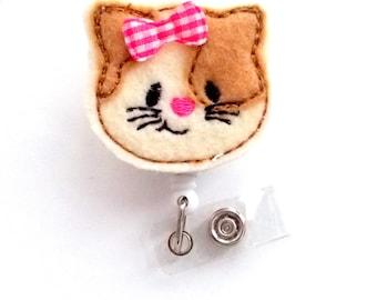 Cora the Cat - Retractable ID Badge Reel - Name Badge Holder - CNA Badge Reel - Nurse Badge Holder - Nursing Badge Clip - Teacher Badge