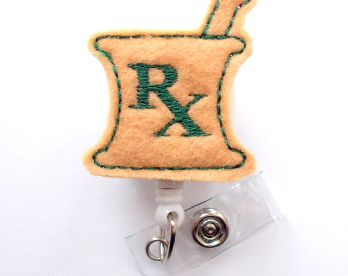 RX Mortar and Pestle Hunter Green and Khaki - RX Badge Holder - Pharmacy Badge Clip - Pharmacist Badge Reel - Pharmacy Assistant