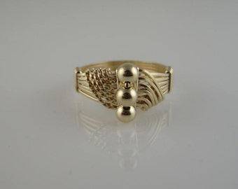 RI-0116  3-Bead Wave Ring, 14K Gold Filled Bead Ring, Handmade Ring, Wire Wrapped in 14K Gold Filled Wire