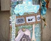 Mixed Media Tag, Original Collage Art Journaling Tag, Enjoy The Journey Inspirational Hang Tag, One Of A Kind Mixed Media Assemblage Art