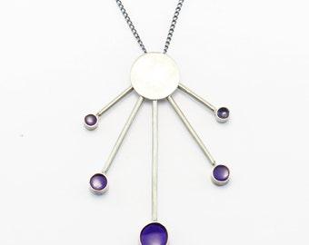 Minimal Geometric Statement Necklace // Colorful Geometric // silver circle purple translucent