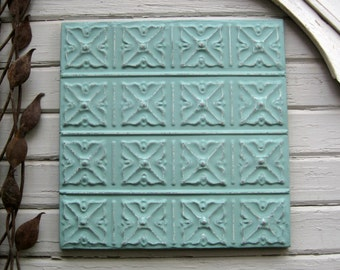 Ceiling Tin Tile. VINTAGE TIN FRAMED & ready to hang. Architectural salvage. Wall decor. Wall Art.