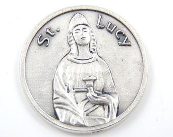 LARGE Saint Lucy Catholic Medal - Santa Lucia Religious Charm - Patron Saint of Eyes - Writers Saints - Pocket Medallion