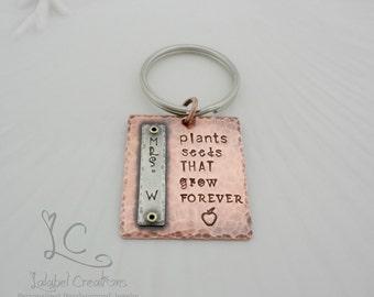 Teacher End of Year Gifts, Teacher Graduation Gift, Teacher Gifts Keychain Personalized, Hand Stamped Keychain, Personalized Key Chain
