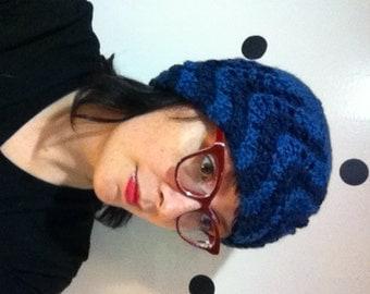 Wavy Blue Knit Hat Vintage Style Toque Vegan Chevron