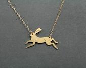 rabbit necklace, running rabbit, animal pendant, rabbit jewelry, gold rabbit, rabbit charm