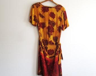 Vintage 80s Carole Little Sarong Style Dress, Size 8 Sarong Dress, Vintage Carole Little Dress, SALE